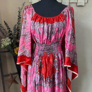 VTG David Edden Paisley Angel Sleeve Maxi Dress